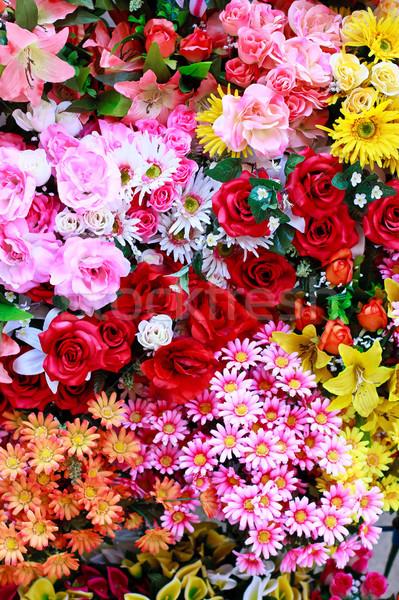 ágy gyönyörű különböző virágok helyi piac Stock fotó © Bertl123