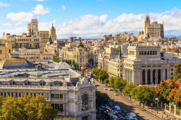Madrid cityscape and aerial view of of Gran Via shopping street, Stock photo © Bertl123