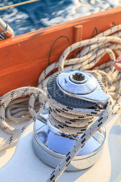 Stock photo: Sailboat winch and rope detail on yacht