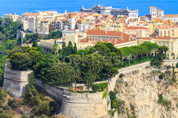 Panoramic view of Monaco with palace (Chateau Grimaldi), old tow Stock photo © Bertl123