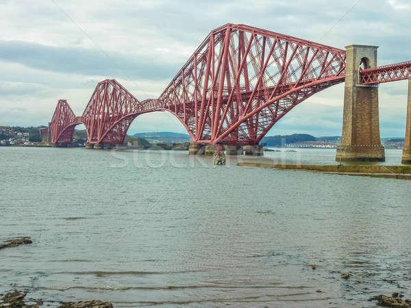 Demiryolu köprü Edinburg İskoçya su manzara Stok fotoğraf © Bertl123