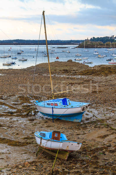 Sailing boats at ebb tide near St. Malo in Brittany, France  Stock photo © Bertl123