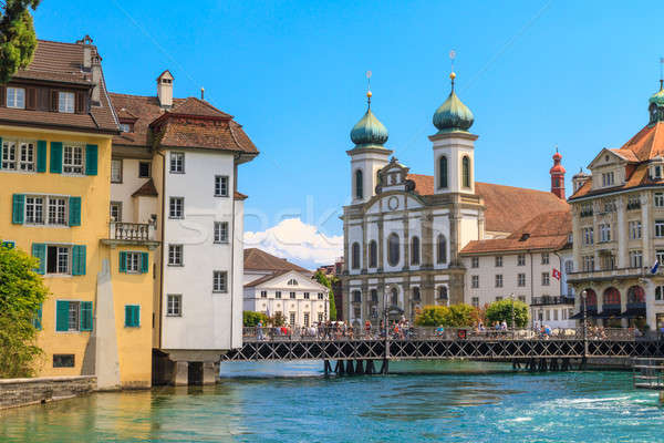 Lucerne city view with river Reuss and Jesuit church, Switzerlan Stock photo © Bertl123