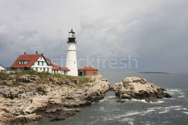 Cape Elizabeth Lighthouse before cloudy sky, New England, Portland, Maine Stock photo © Bertl123