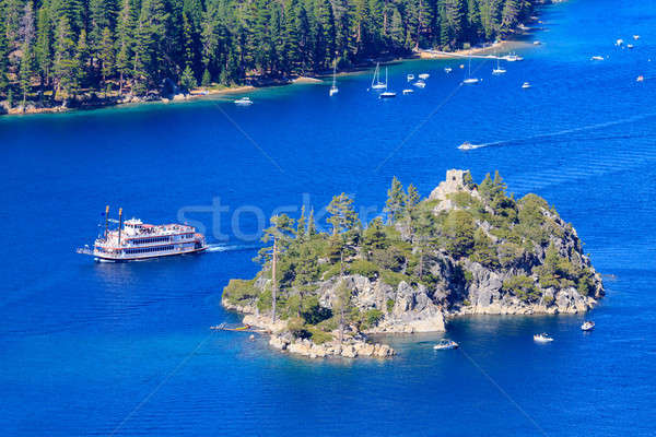 Emerald Bay Paddle Steamer and Fannette Island, Lake Tahoe, Cali Stock photo © Bertl123