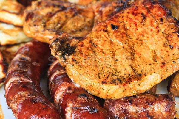 Grilled sausages and meat Stock photo © Bertl123