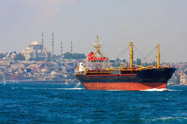 Freighter before Istanbul Skyline, Turkey Stock photo © Bertl123