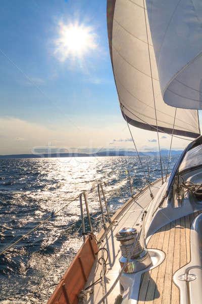 ヨット セーリング 日没 青 海 スポーツ ストックフォト © Bertl123