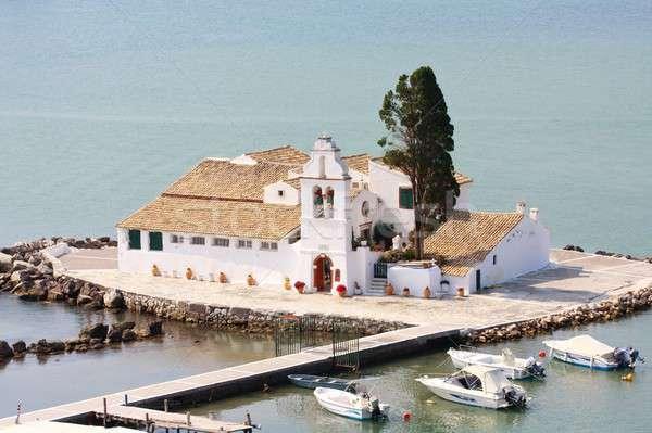 Egér sziget kolostor Görögország égbolt háttér Stock fotó © Bertl123