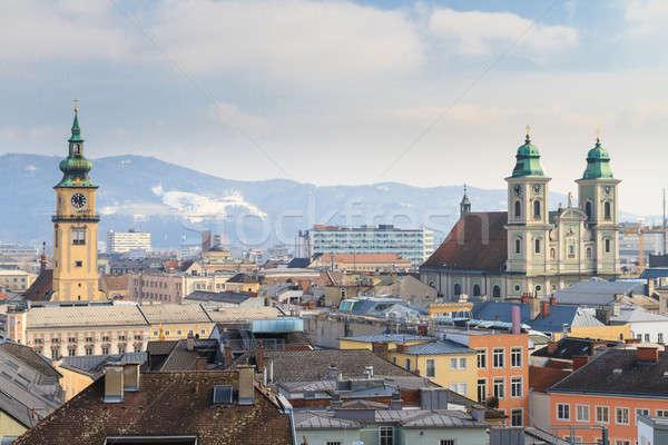 Kilátás öreg város templomok Ausztria égbolt Stock fotó © Bertl123