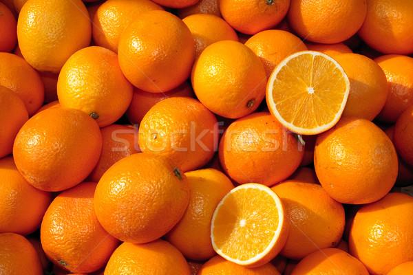 Kosár narancsok étel zöld gyümölcsök reggeli Stock fotó © Bertl123