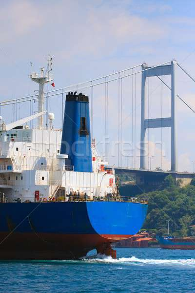 Freighter in the Bosporus Strait before trans-continental bridge Stock photo © Bertl123