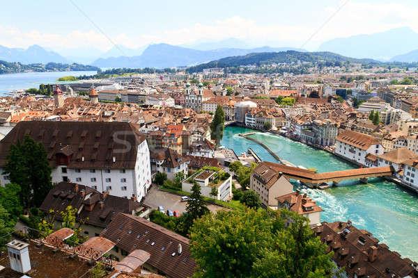 Luzern City View from city walls with river Reuss, Switzerland Stock photo © Bertl123