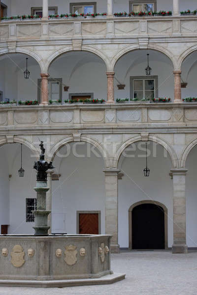 Inner courtyard  with famous fountain of the Landhaus in Linz, A Stock photo © Bertl123