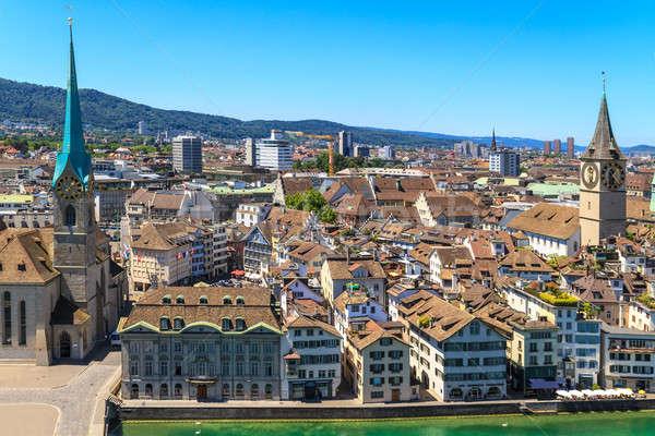 Zürih Cityscape saat manzara yaz Stok fotoğraf © Bertl123