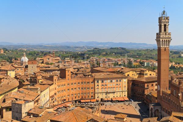 Piazza del Campo with Palazzo Pubblico, Siena, Italy Stock photo © Bertl123