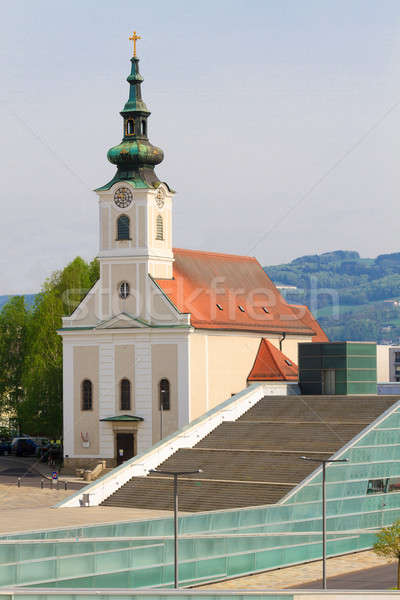 Linz - Urfahr Parish church with modern staircase, Austria Stock photo © Bertl123