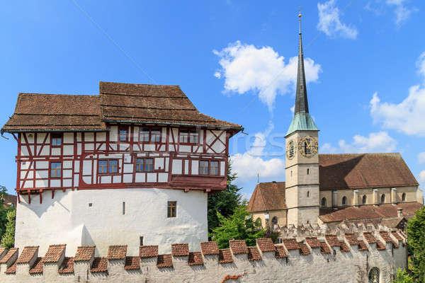 Kale kilise İsviçre şehir gökyüzü ev Stok fotoğraf © Bertl123