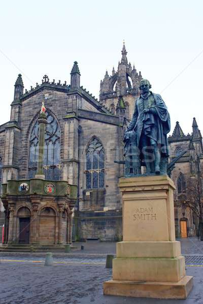 Adam Smith memorial statue before St. Giles Cathedral, Edingburgh, Scotland Stock photo © Bertl123