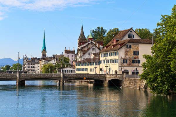 Zürih Cityscape İsviçre ev saat ışık Stok fotoğraf © Bertl123