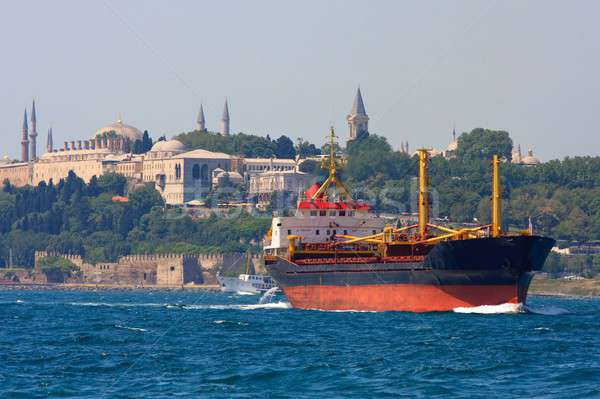 Freighter before Topkapi Palace skyline, Istanbul, Turkey Stock photo © Bertl123