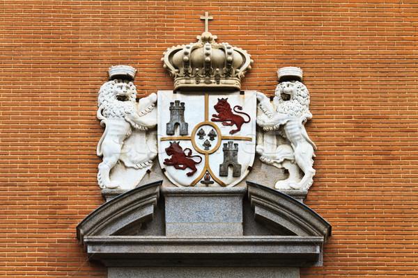 испанский пальто оружия Мадрид кирпичных здании Сток-фото © Bertl123