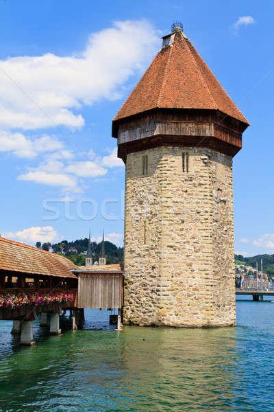 Kapel brug water gebouw hout Stockfoto © Bertl123