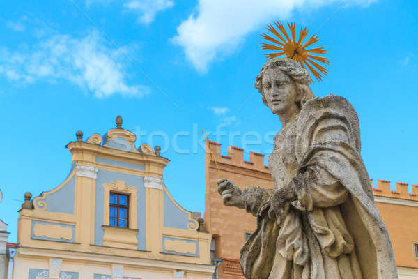 Facade of Renaissance houses and Holy Mary Statue in Telc, Czech Stock photo © Bertl123