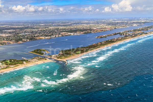 Aerial View on Florida Beach and waterway near Palm Beach Stock photo © Bertl123