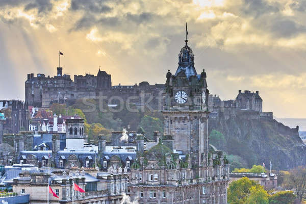 Edinburgh Castle and Balmoral Clock Tower at Dusk, Scotland Stock photo © Bertl123