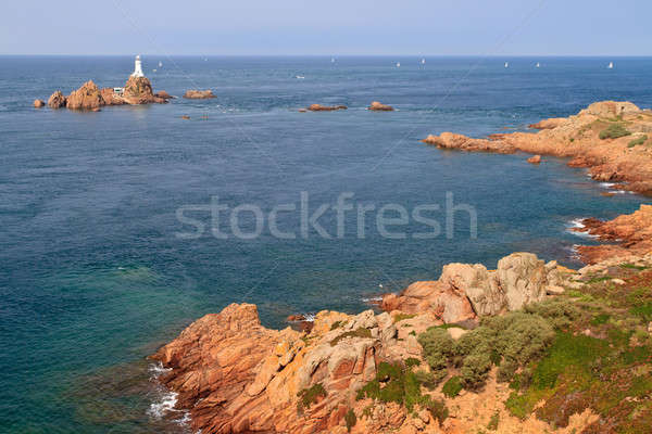 Corbiere Lighthouse and Rocky Coast, Jersey, The Channel Islands Stock photo © Bertl123