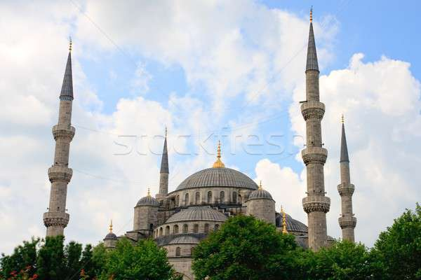 Istanbul Blue Mosque before cloudy sky Stock photo © Bertl123