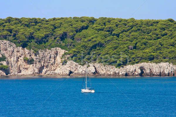 Dalmatian Coastline with sailing boat, Croatia Stock photo © Bertl123