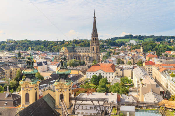 Linz Cityscape with New Cathedral and Church of the Ursulines, A Stock photo © Bertl123