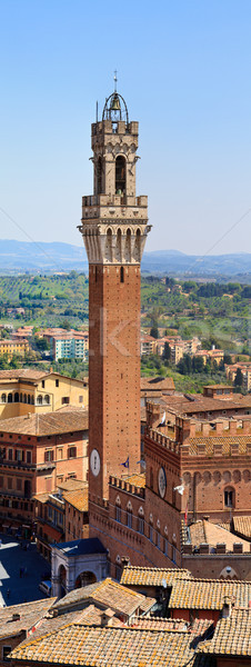 Panorama (HighRes) of Siena Bell Tower, Palazzo Pubblico (Palazz Stock photo © Bertl123