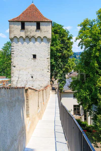 市 壁 中世 塔 スイス 空 ストックフォト © Bertl123