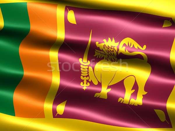 Zászló Sri Lanka számítógép generált illusztráció selymes Stock fotó © bestmoose