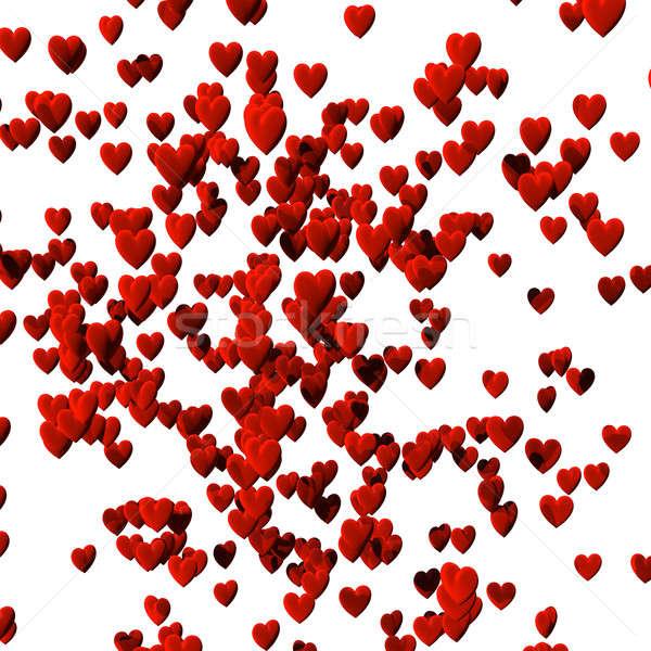 Szívek izolált fehér vágási körvonal 3d render piros Stock fotó © bestmoose