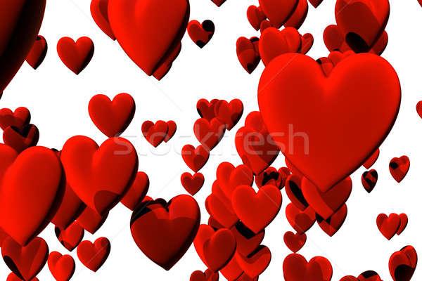 Muitos vermelho veludo corações isolado branco Foto stock © bestmoose