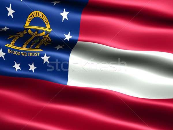 Banderą Gruzja komputera wygenerowany ilustracja jedwabisty Zdjęcia stock © bestmoose