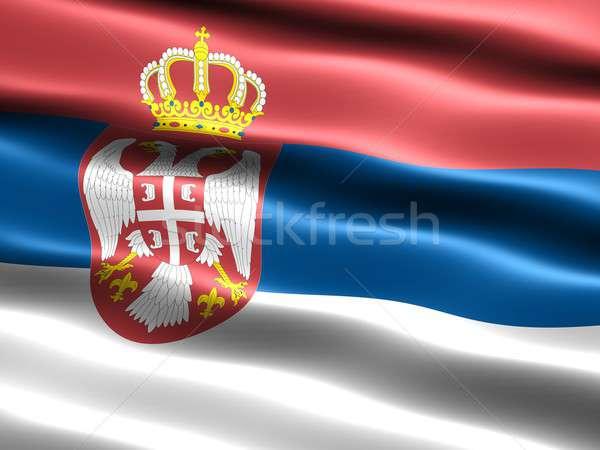Banderą Serbia komputera wygenerowany ilustracja jedwabisty Zdjęcia stock © bestmoose