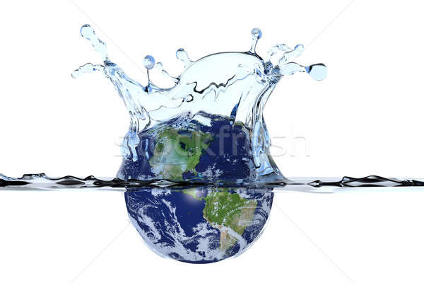 Planet Earth splashing in water Stock photo © bestmoose
