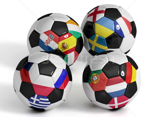 Four isolated soccer balls with flags of european countries. Stock photo © bestmoose