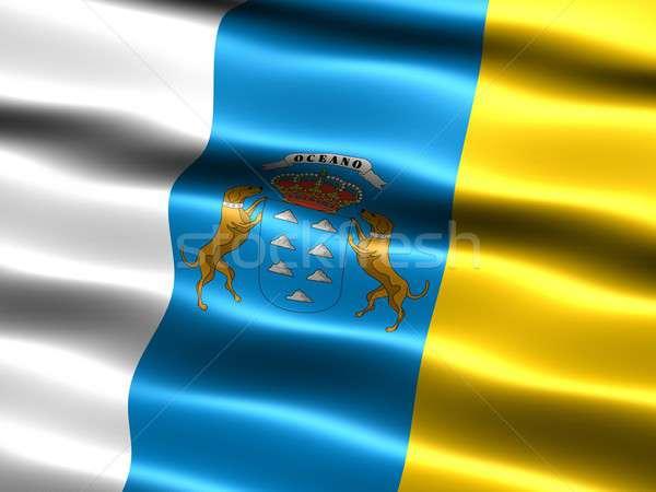 флаг Канарские острова компьютер генерируется иллюстрация шелковистый Сток-фото © bestmoose
