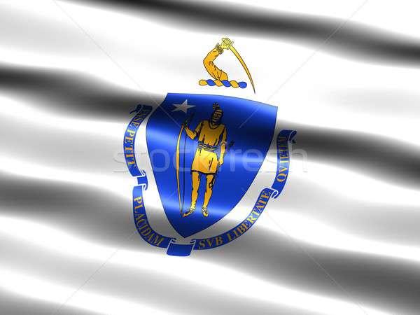 Banderą Massachusetts komputera wygenerowany ilustracja jedwabisty Zdjęcia stock © bestmoose