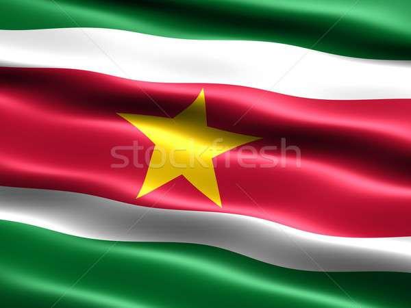 Zászló Suriname számítógép generált illusztráció selymes Stock fotó © bestmoose