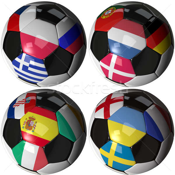 Isolated soccer ball with flags of sixteen European nations Stock photo © bestmoose