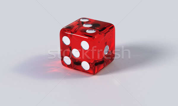Red game die with refraction Stock photo © bestmoose