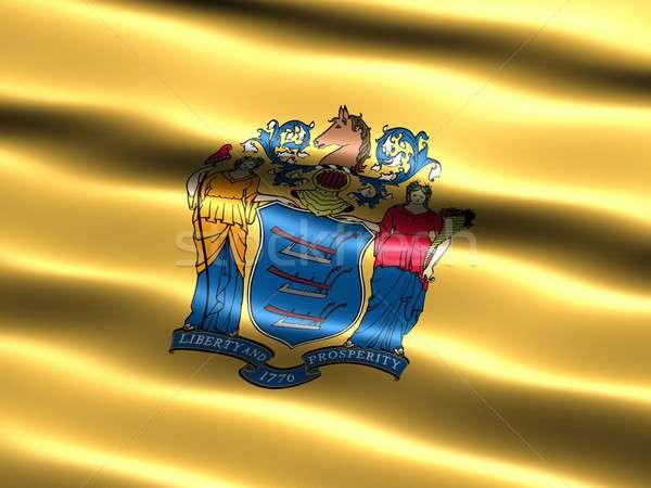 Foto stock: Bandeira · New · Jersey · computador · gerado · ilustração · sedoso
