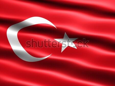 Banderą Turcja komputera wygenerowany ilustracja jedwabisty Zdjęcia stock © bestmoose